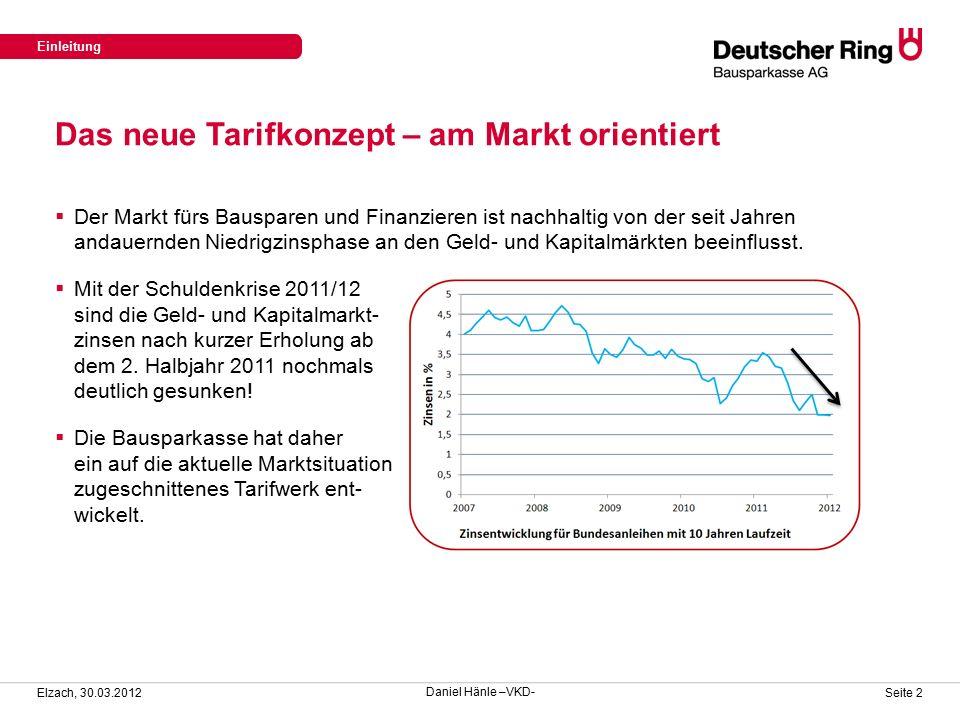 Das neue Tarifkonzept – am Markt orientiert Einleitung Elzach, 30.03.2012 Seite 2  Der Markt fürs Bausparen und Finanzieren ist nachhaltig von der seit Jahren andauernden Niedrigzinsphase an den Geld- und Kapitalmärkten beeinflusst.