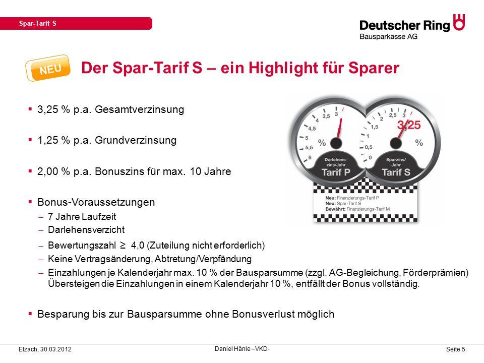 Der Spar-Tarif S – ein Highlight für Sparer Spar-Tarif S Elzach, 30.03.2012 Seite 5  3,25 % p.a.
