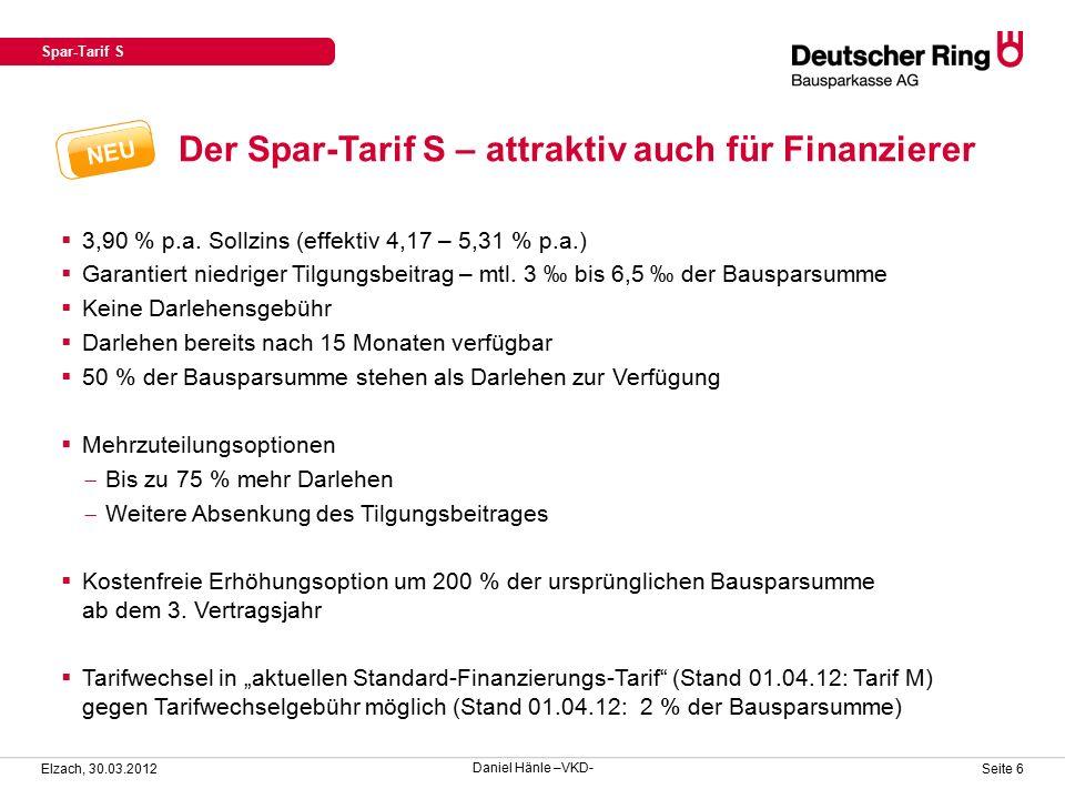 Verkaufsunterlagen für den Spar-Tarif S Elzach, 30.03.2012 Seite 7 Verkaufsflyer mit integriertem Kurzantrag in neuem Layout (DRB 0265) Spar-Tarif S Daniel Hänle –VKD-