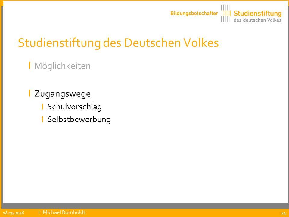 Studienstiftung des Deutschen Volkes ı Möglichkeiten ı Zugangswege ı Schulvorschlag ı Selbstbewerbung 18.09.2016 ıMichael Bornholdt 24