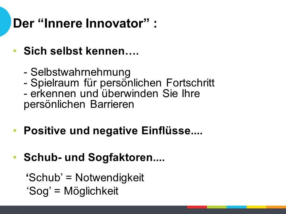 """Der """"Innere Innovator"""" : Sich selbst kennen…. - Selbstwahrnehmung - Spielraum für persönlichen Fortschritt - erkennen und überwinden Sie Ihre persönli"""