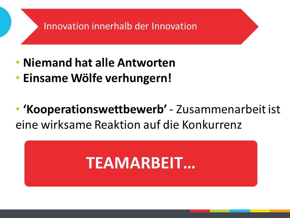 Innovation innerhalb der Innovation TEAMARBEIT… Niemand hat alle Antworten Einsame Wölfe verhungern! 'Kooperationswettbewerb' - Zusammenarbeit ist ein