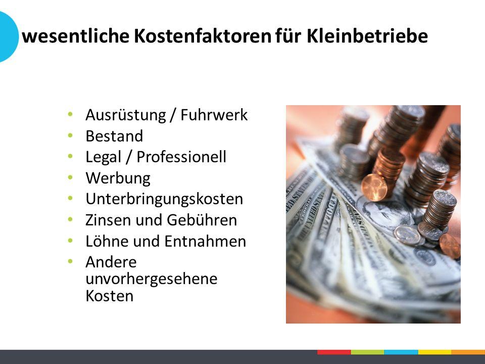 Ausrüstung / Fuhrwerk Bestand Legal / Professionell Werbung Unterbringungskosten Zinsen und Gebühren Löhne und Entnahmen Andere unvorhergesehene Koste