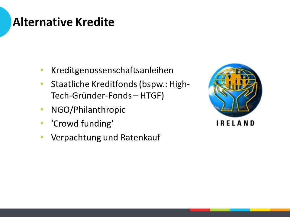 Alternative Kredite Kreditgenossenschaftsanleihen Staatliche Kreditfonds (bspw.: High- Tech-Gründer-Fonds – HTGF) NGO/Philanthropic 'Crowd funding' Ve