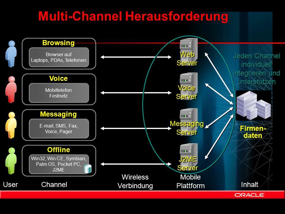 Multi-Channel Herausforderung Firmen- daten User Channel Wireless Verbindung Wireless Verbindung Mobile Plattform Mobile Plattform Inhalt Browsing Bro