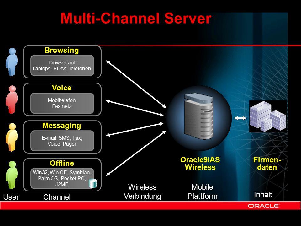 Multi-Channel Server Firmen- daten User Channel Wireless Verbindung Wireless Verbindung Mobile Plattform Mobile Plattform Inhalt Browsing Browser auf