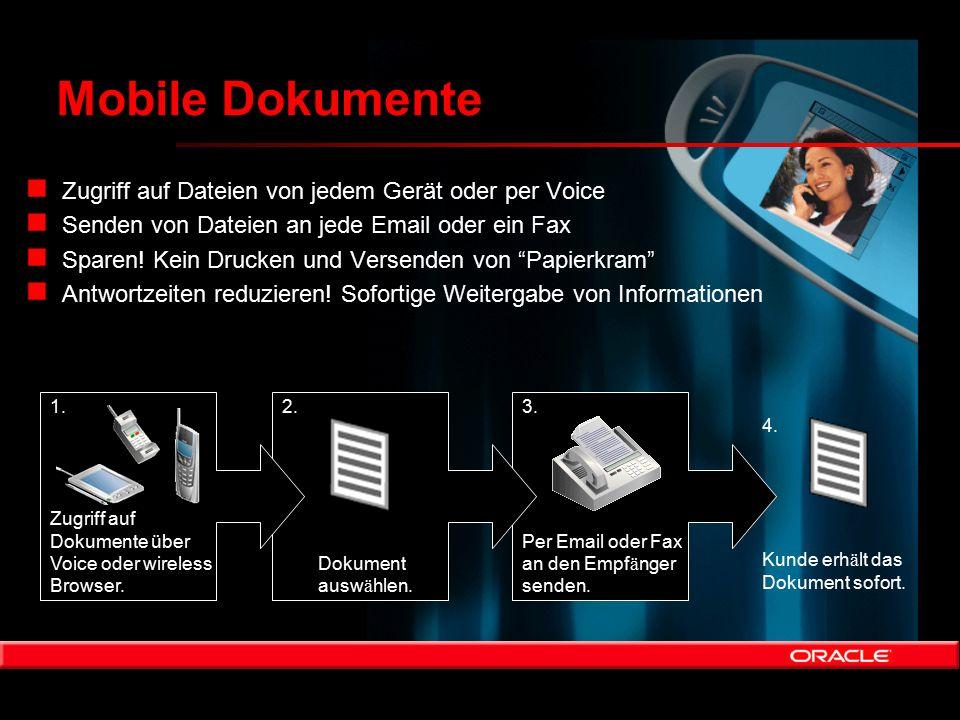 Mobile Dokumente 3. Per Email oder Fax an den Empf ä nger senden. 2. Dokument ausw ä hlen. 1. Zugriff auf Dokumente über Voice oder wireless Browser.