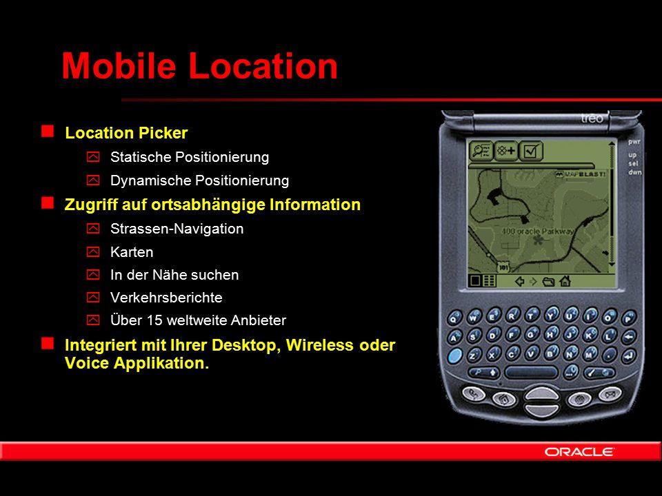 Mobile Location n Location Picker yStatische Positionierung yDynamische Positionierung n Zugriff auf ortsabhängige Information yStrassen-Navigation yK