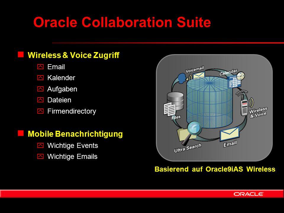 Oracle Collaboration Suite n Wireless & Voice Zugriff yEmail yKalender yAufgaben yDateien yFirmendirectory n Mobile Benachrichtigung yWichtige Events