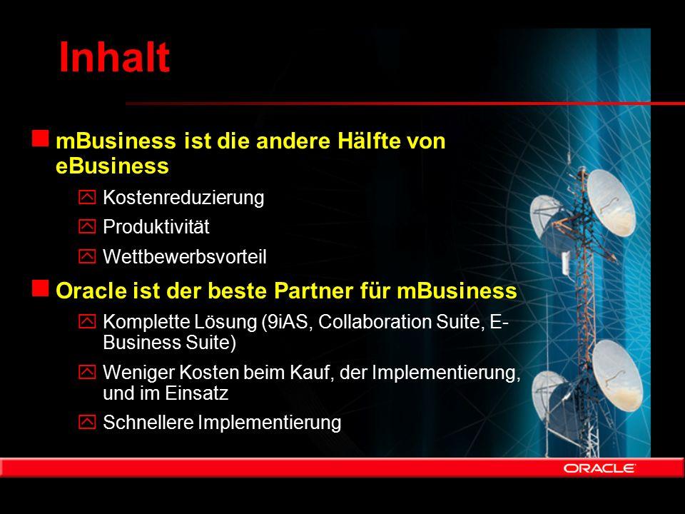 Inhalt n mBusiness ist die andere Hälfte von eBusiness yKostenreduzierung yProduktivität yWettbewerbsvorteil n Oracle ist der beste Partner für mBusin