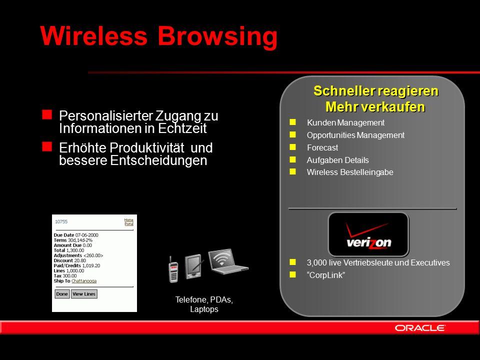 Wireless Browsing n Personalisierter Zugang zu Informationen in Echtzeit n Erhöhte Produktivität und bessere Entscheidungen n 3,000 live Vertriebsleut
