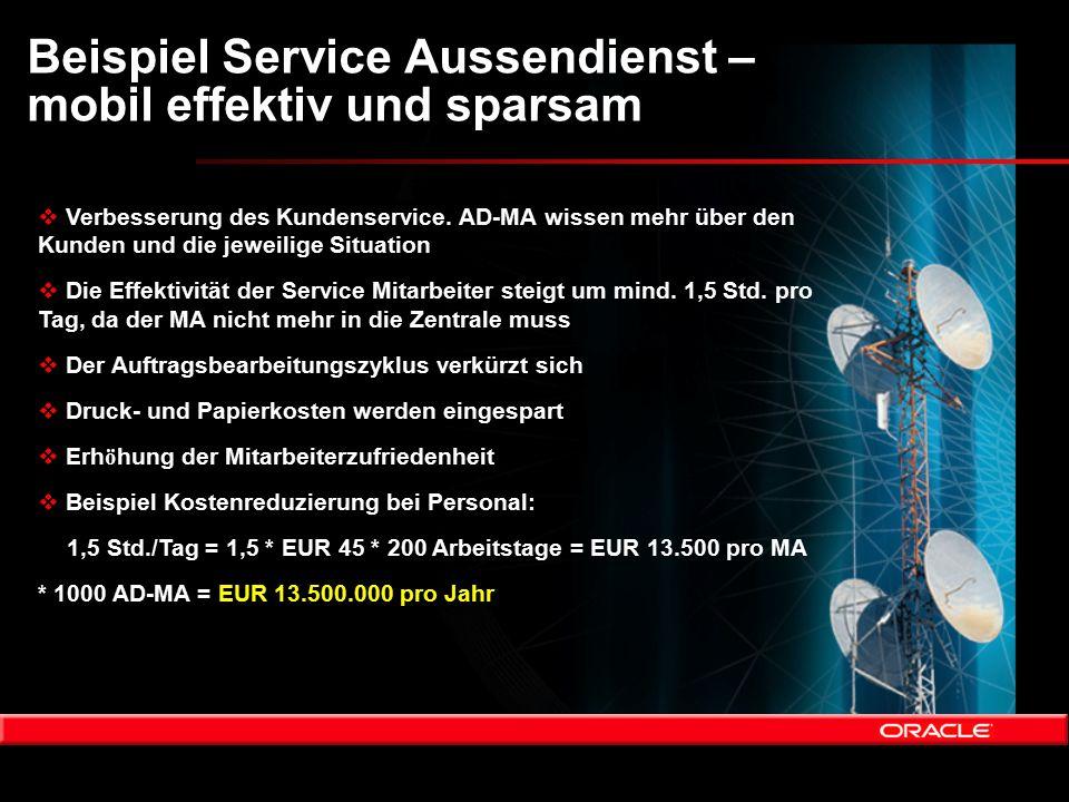 Beispiel Service Aussendienst – mobil effektiv und sparsam  Verbesserung des Kundenservice. AD-MA wissen mehr über den Kunden und die jeweilige Situa