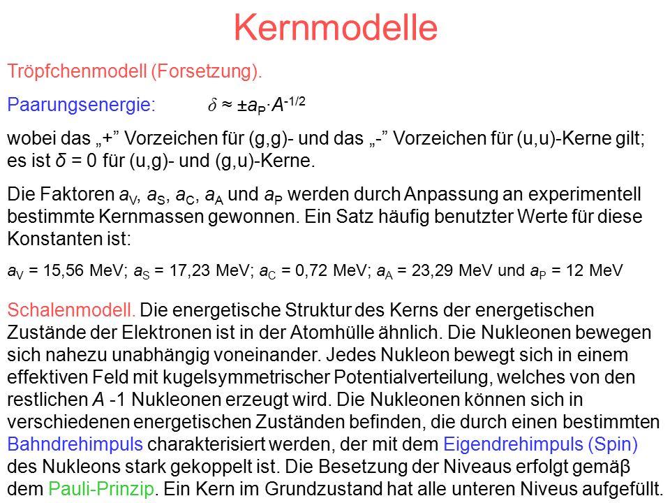Kernmodelle Tröpfchenmodell (Forsetzung).