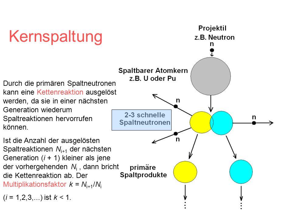 Durch die primären Spaltneutronen kann eine Kettenreaktion ausgelöst werden, da sie in einer nächsten Generation wiederum Spaltreaktionen hervorrufen können.