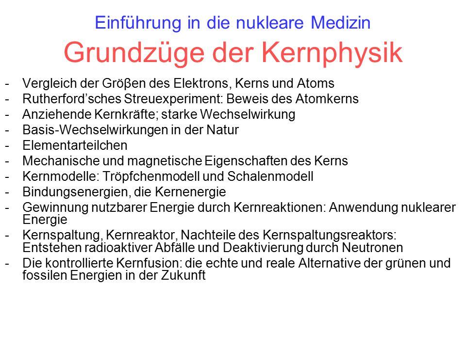 Einführung in die nukleare Medizin Grundzüge der Kernphysik -Vergleich der Gröβen des Elektrons, Kerns und Atoms -Rutherford'sches Streuexperiment: Beweis des Atomkerns -Anziehende Kernkräfte; starke Wechselwirkung -Basis-Wechselwirkungen in der Natur -Elementarteilchen -Mechanische und magnetische Eigenschaften des Kerns -Kernmodelle: Tröpfchenmodell und Schalenmodell -Bindungsenergien, die Kernenergie -Gewinnung nutzbarer Energie durch Kernreaktionen: Anwendung nuklearer Energie -Kernspaltung, Kernreaktor, Nachteile des Kernspaltungsreaktors: Entstehen radioaktiver Abfälle und Deaktivierung durch Neutronen -Die kontrollierte Kernfusion: die echte und reale Alternative der grünen und fossilen Energien in der Zukunft