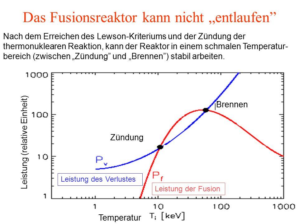 """Das Fusionsreaktor kann nicht """"entlaufen Leistung des Verlustes Leistung der Fusion Zündung Brennen Temperatur Leistung (relative Einheit) Nach dem Erreichen des Lewson-Kriteriums und der Zündung der thermonuklearen Reaktion, kann der Reaktor in einem schmalen Temperatur- bereich (zwischen """"Zündung und """"Brennen ) stabil arbeiten."""