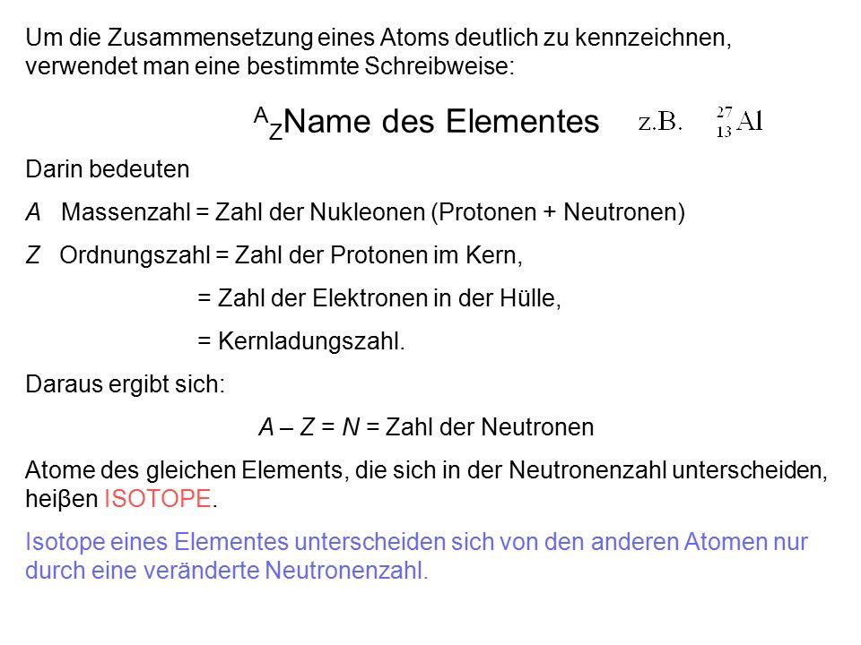 Kernbindungsenergie pro Nukleonen 0 4 8 E spezifisch Bindungsenergie (MeV) 100 200 A, Massenzahl 2D2D 3T3T 4 He 238 U Kernfusion Kernspaltung 56 Fe Specifische Kernbindungsenergie ist: Z: Zahl der Protonen N: Zahl der Neutronen M: Masse des Kerns Δm: Massendefekt c: Lichtgeschwindigkeit Δm = 1 Massendefekt (1,67·10 -24 g) entspricht E Bindung = 931,5 MeV Kernbindungsenergie.