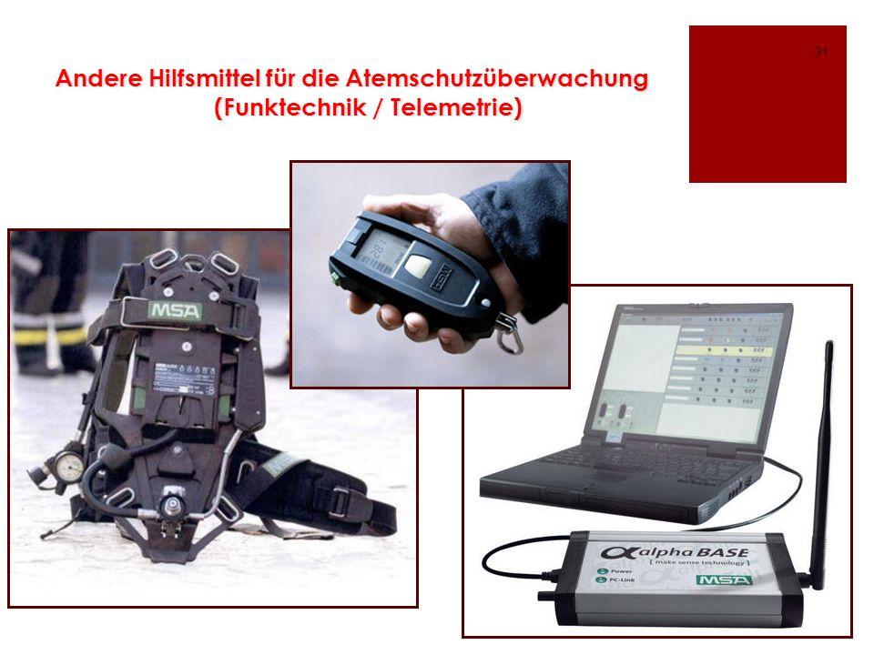 Andere Hilfsmittel für die Atemschutzüberwachung (Funktechnik / Telemetrie) 31