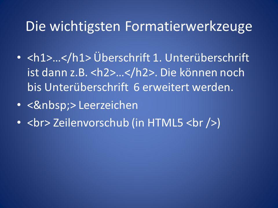 Die wichtigsten Formatierwerkzeuge … Überschrift 1.