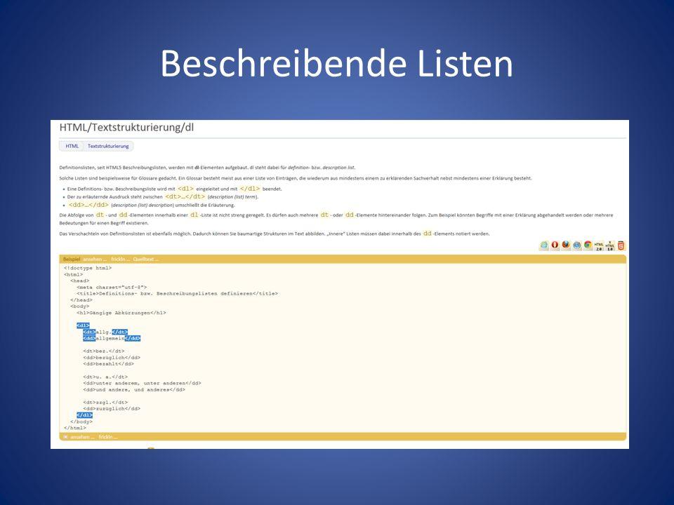 Beschreibende Listen