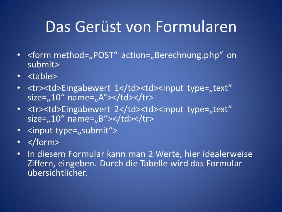 Das Gerüst von Formularen Eingabewert 1 Eingabewert 2 In diesem Formular kann man 2 Werte, hier idealerweise Ziffern, eingeben.