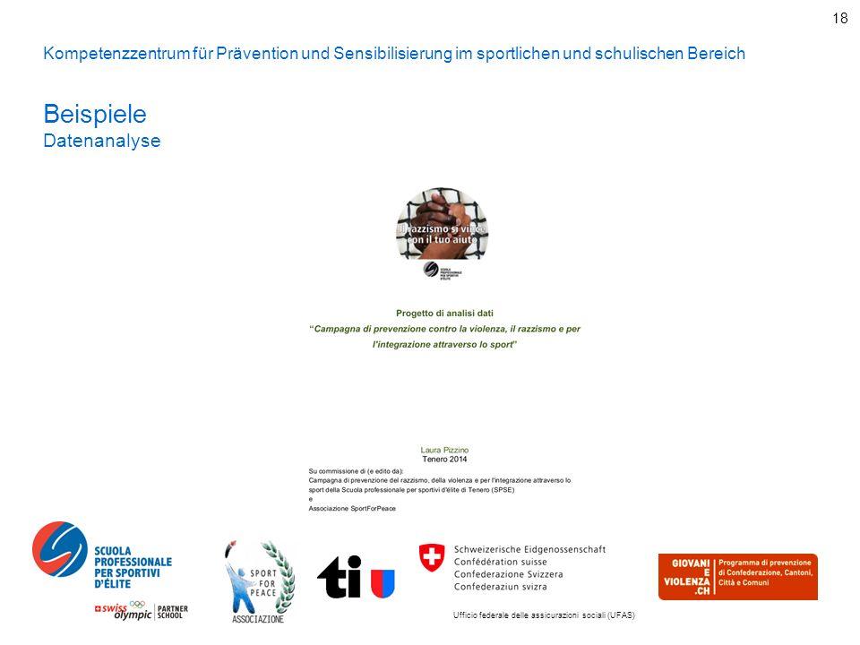 Ufficio federale delle assicurazioni sociali (UFAS) 18 Kompetenzzentrum für Prävention und Sensibilisierung im sportlichen und schulischen Bereich Beispiele Datenanalyse