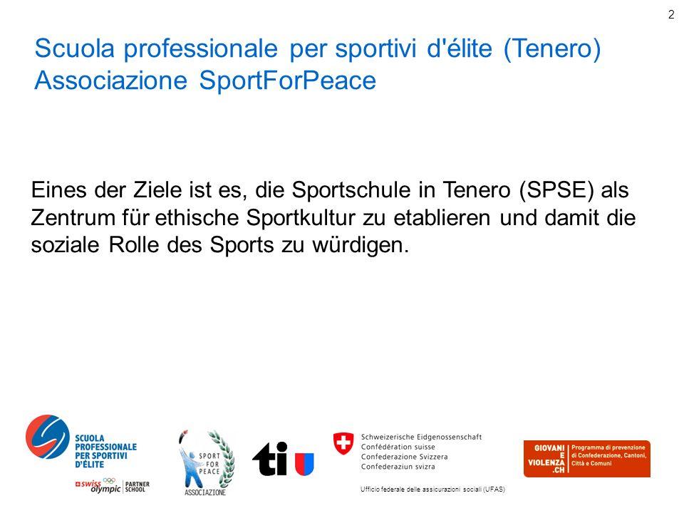 Ufficio federale delle assicurazioni sociali (UFAS) 2 Scuola professionale per sportivi d élite (Tenero) Associazione SportForPeace Eines der Ziele ist es, die Sportschule in Tenero (SPSE) als Zentrum für ethische Sportkultur zu etablieren und damit die soziale Rolle des Sports zu würdigen.