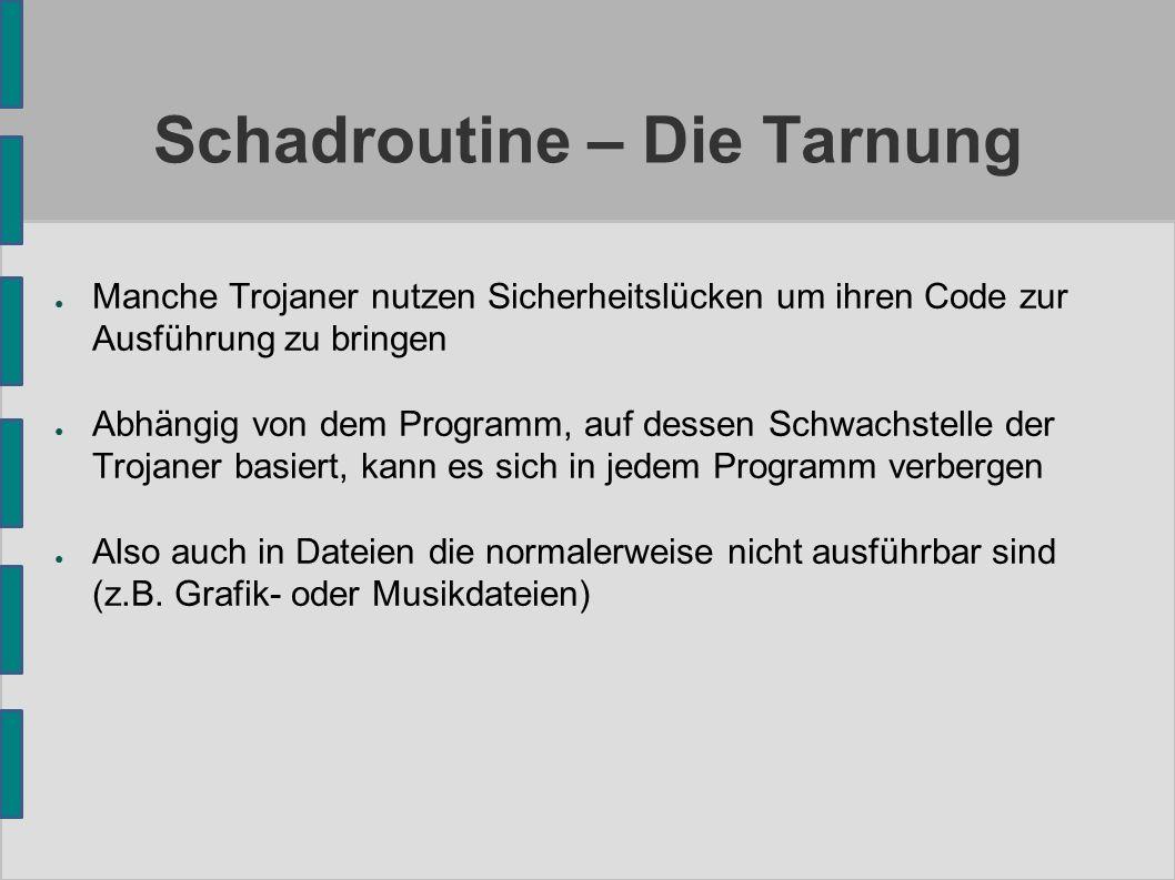Schadroutine – Die Tarnung ● Manche Trojaner nutzen Sicherheitslücken um ihren Code zur Ausführung zu bringen ● Abhängig von dem Programm, auf dessen