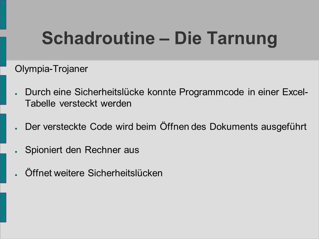 Schadroutine – Die Tarnung Olympia-Trojaner ● Durch eine Sicherheitslücke konnte Programmcode in einer Excel- Tabelle versteckt werden ● Der versteckt
