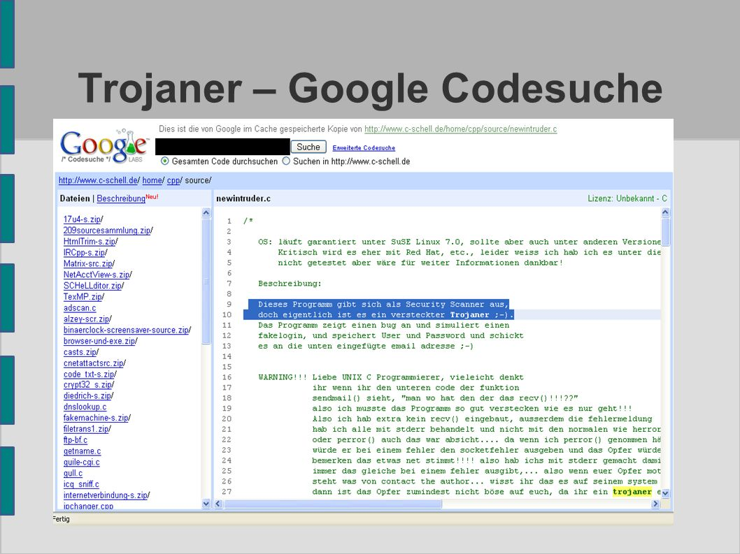 Trojaner – Google Codesuche