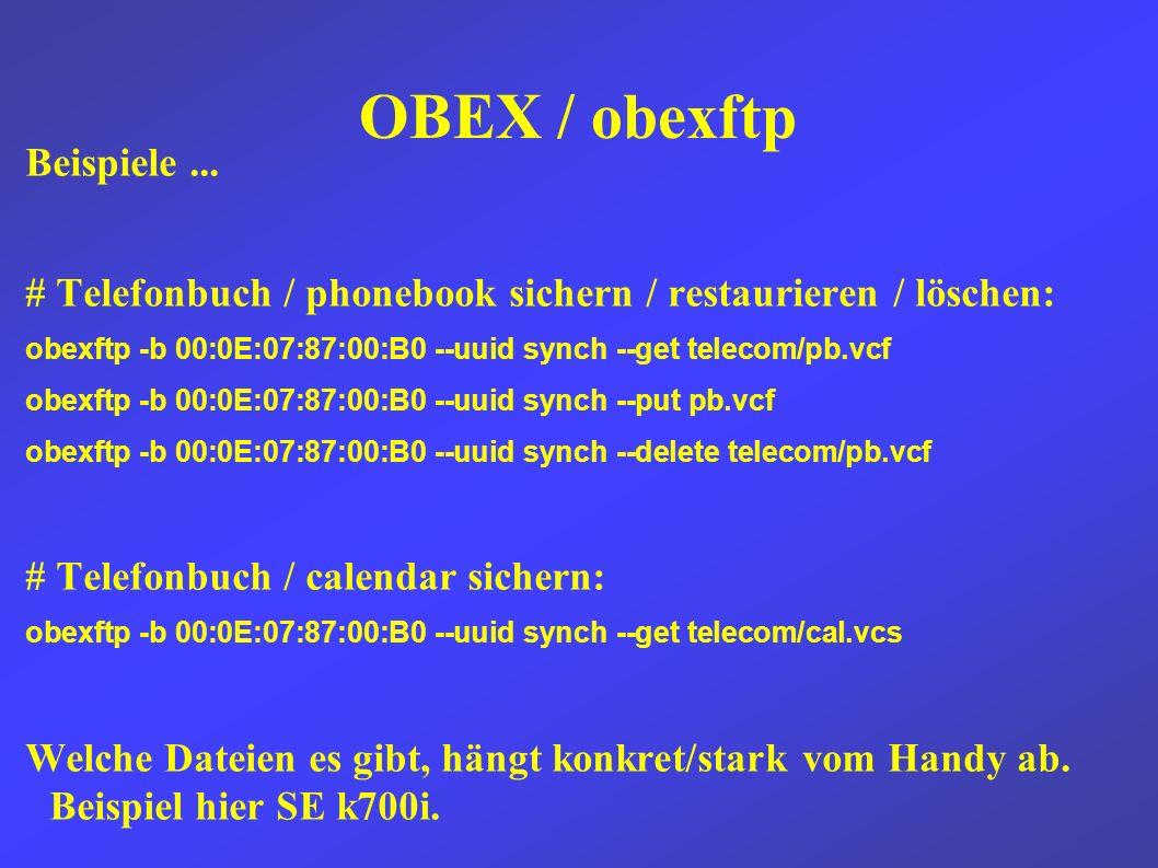 OBEX / obexftp Beispiele...