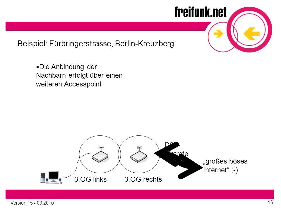"""Version 15 - 03.2010 16 3.OG links Beispiel: Fürbringerstrasse, Berlin-Kreuzberg 3.OG rechts """"großes böses Internet ;-) DSL- Flatrate  Die Anbindung der Nachbarn erfolgt über einen weiteren Accesspoint"""