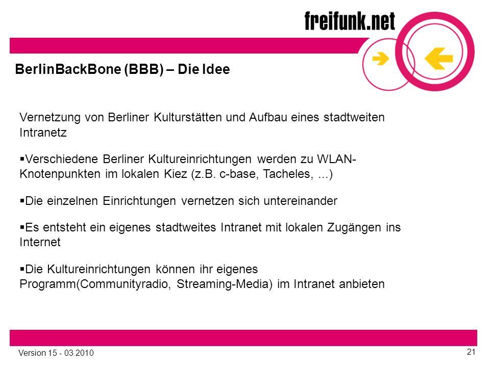 Version 15 - 03.2010 21 Vernetzung von Berliner Kulturstätten und Aufbau eines stadtweiten Intranetz  Verschiedene Berliner Kultureinrichtungen werden zu WLAN- Knotenpunkten im lokalen Kiez (z.B.