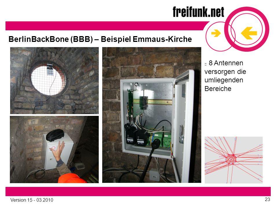 Version 15 - 03.2010 23 8 Antennen versorgen die umliegenden Bereiche BerlinBackBone (BBB) – Beispiel Emmaus-Kirche