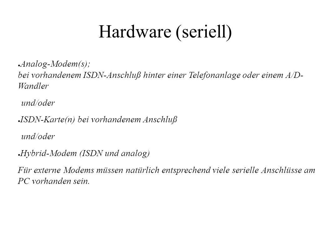 Hardware (seriell) ● Analog-Modem(s); bei vorhandenem ISDN-Anschluß hinter einer Telefonanlage oder einem A/D- Wandler und/oder ● ISDN-Karte(n) bei vo