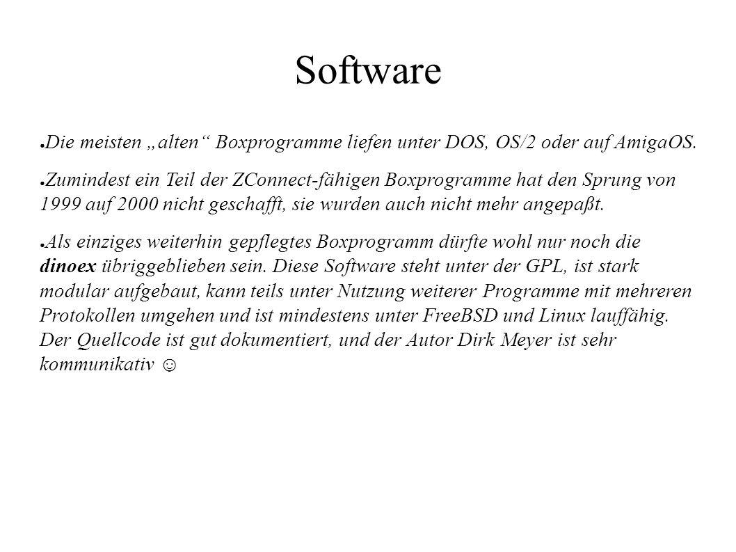 """Software ● Die meisten """"alten"""" Boxprogramme liefen unter DOS, OS/2 oder auf AmigaOS. ● Zumindest ein Teil der ZConnect-fähigen Boxprogramme hat den Sp"""