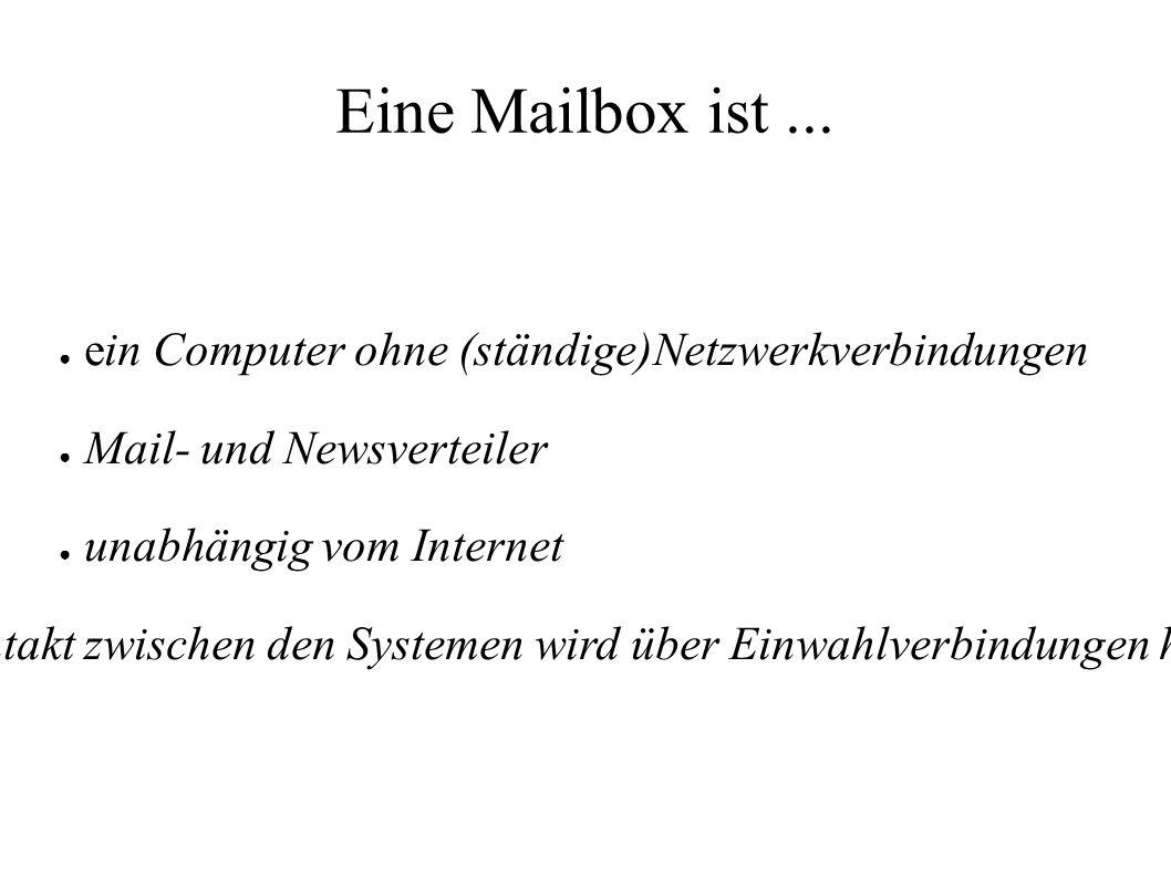 Eine Mailbox ist... ● ein Computer ohne (ständige)Netzwerkverbindungen ● Mail- und Newsverteiler ● unabhängig vom Internet Der Kontakt zwischen den Sy