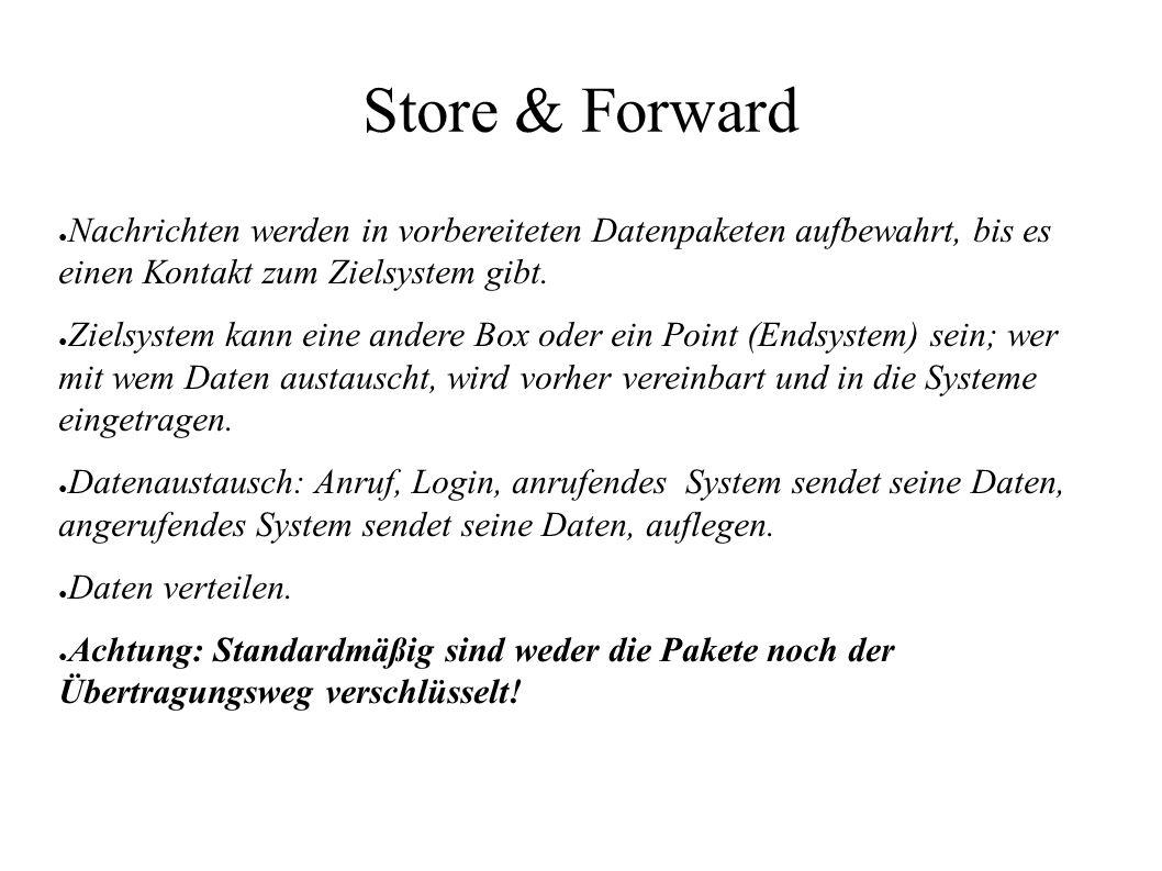 Store & Forward ● Nachrichten werden in vorbereiteten Datenpaketen aufbewahrt, bis es einen Kontakt zum Zielsystem gibt. ● Zielsystem kann eine andere