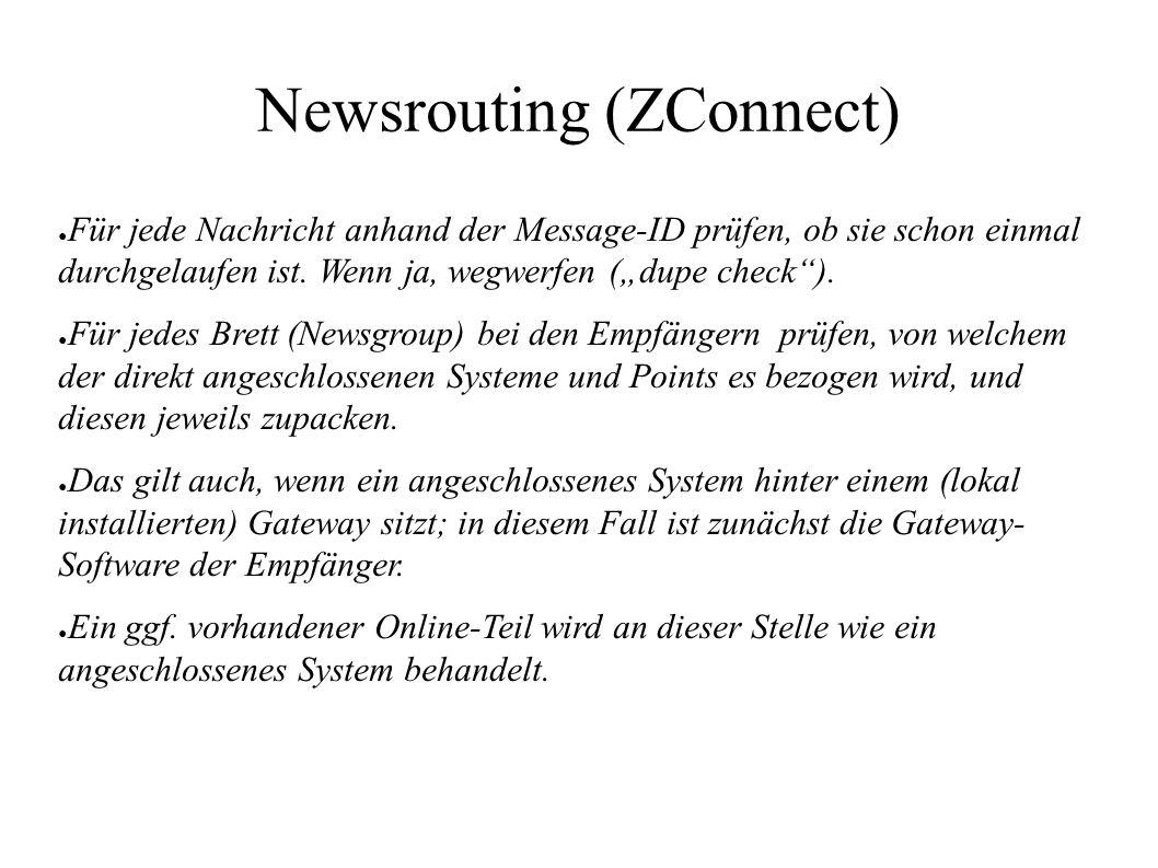 """Newsrouting (ZConnect) ● Für jede Nachricht anhand der Message-ID prüfen, ob sie schon einmal durchgelaufen ist. Wenn ja, wegwerfen (""""dupe check""""). ●"""