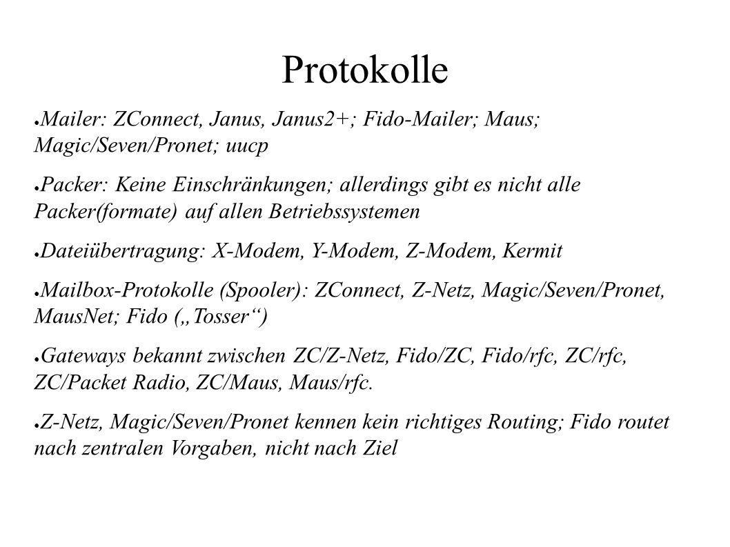 Protokolle ● Mailer: ZConnect, Janus, Janus2+; Fido-Mailer; Maus; Magic/Seven/Pronet; uucp ● Packer: Keine Einschränkungen; allerdings gibt es nicht a