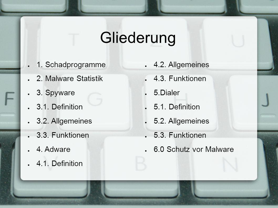 Gliederung ● 1. Schadprogramme ● 2. Malware Statistik ● 3.