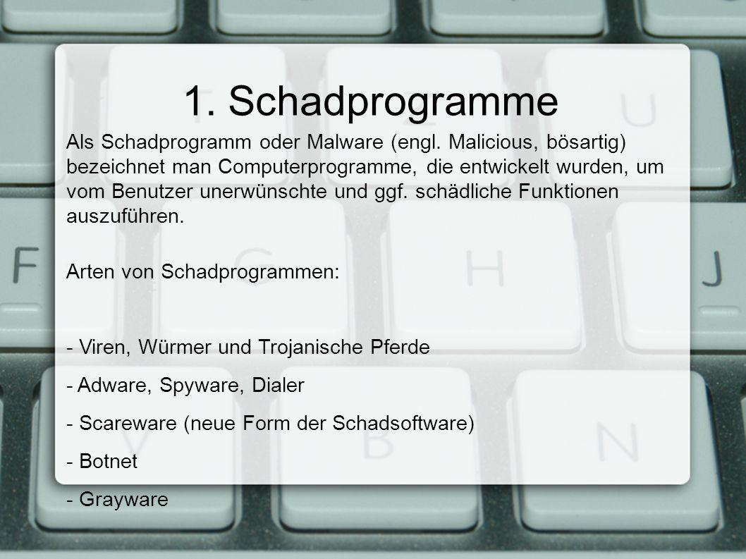 1. Schadprogramme Als Schadprogramm oder Malware (engl.