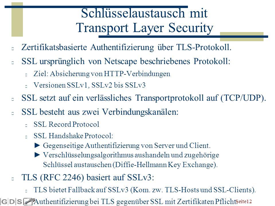 Seite 12 Schlüsselaustausch mit Transport Layer Security Zertifikatsbasierte Authentifizierung über TLS-Protokoll.
