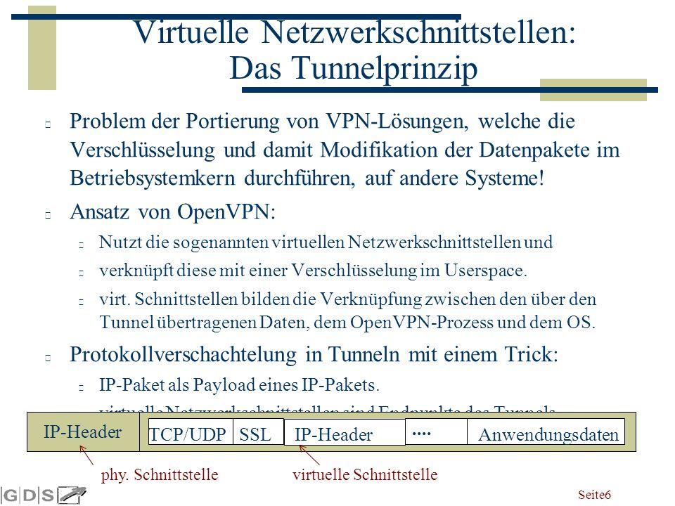 Seite 6 Virtuelle Netzwerkschnittstellen: Das Tunnelprinzip Problem der Portierung von VPN-Lösungen, welche die Verschlüsselung und damit Modifikation der Datenpakete im Betriebsystemkern durchführen, auf andere Systeme.