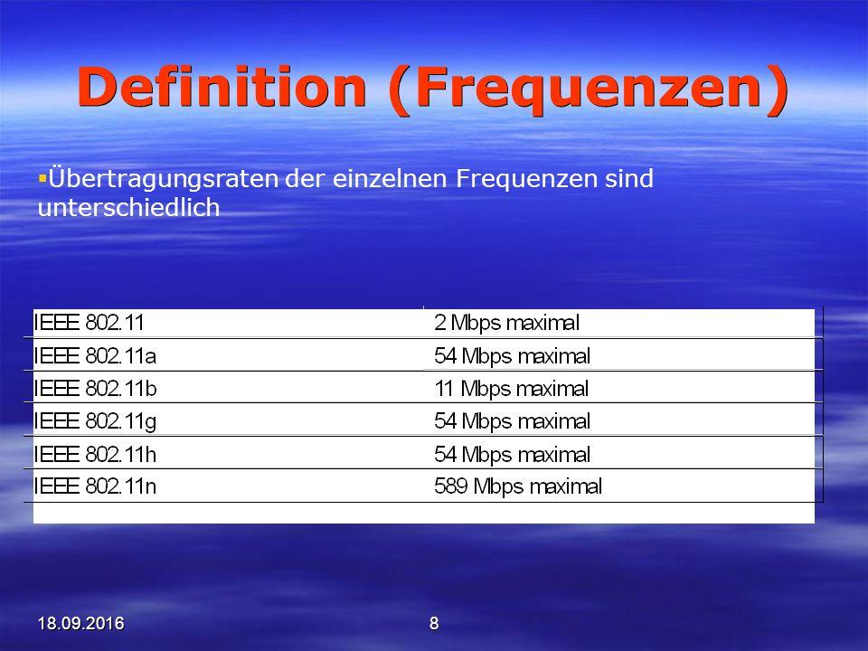 18.09.20168 Definition (Frequenzen)  Übertragungsraten der einzelnen Frequenzen sind unterschiedlich