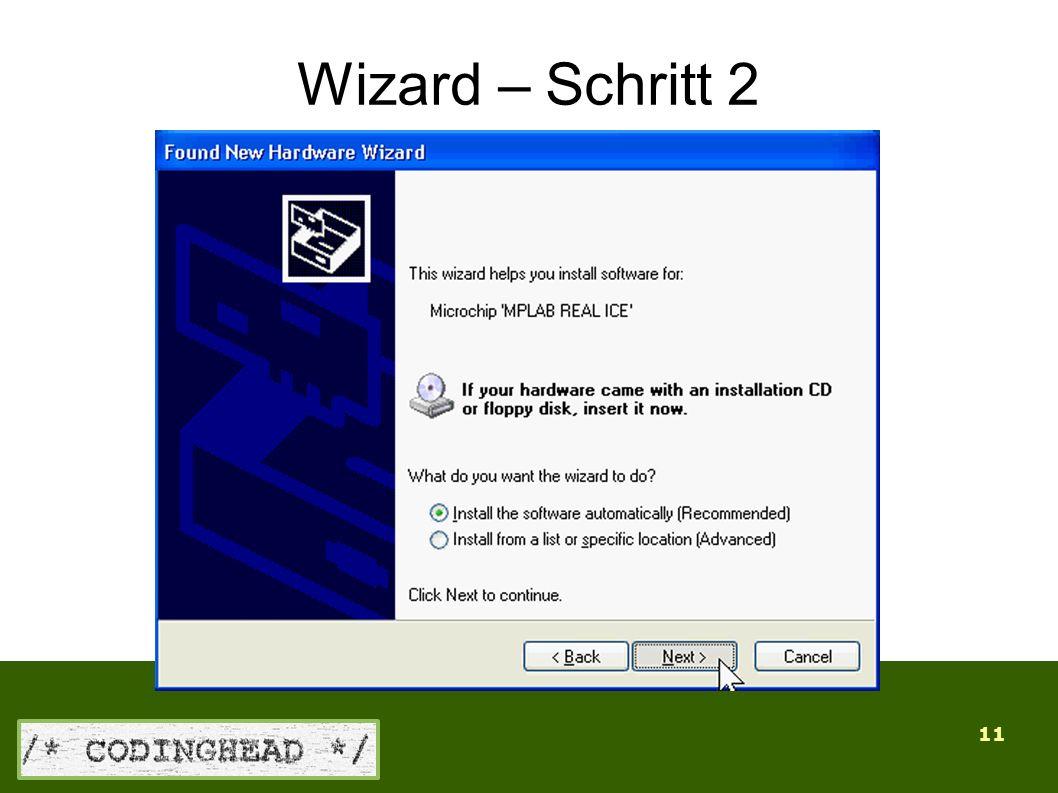 11 Wizard – Schritt 2