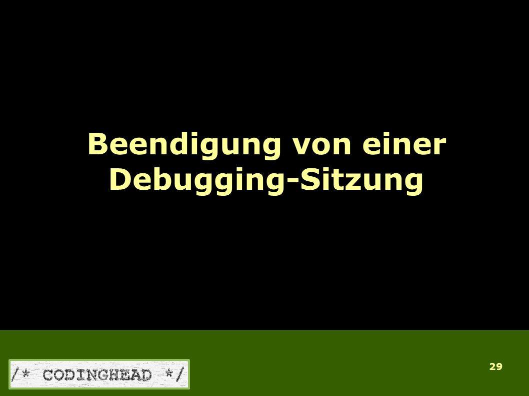 29 Beendigung von einer Debugging-Sitzung