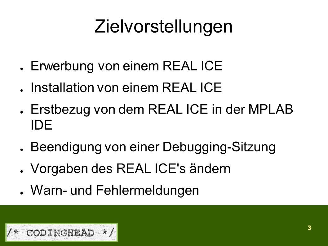 3 Zielvorstellungen ● Erwerbung von einem REAL ICE ● Installation von einem REAL ICE ● Erstbezug von dem REAL ICE in der MPLAB IDE ● Beendigung von einer Debugging-Sitzung ● Vorgaben des REAL ICE s ändern ● Warn- und Fehlermeldungen