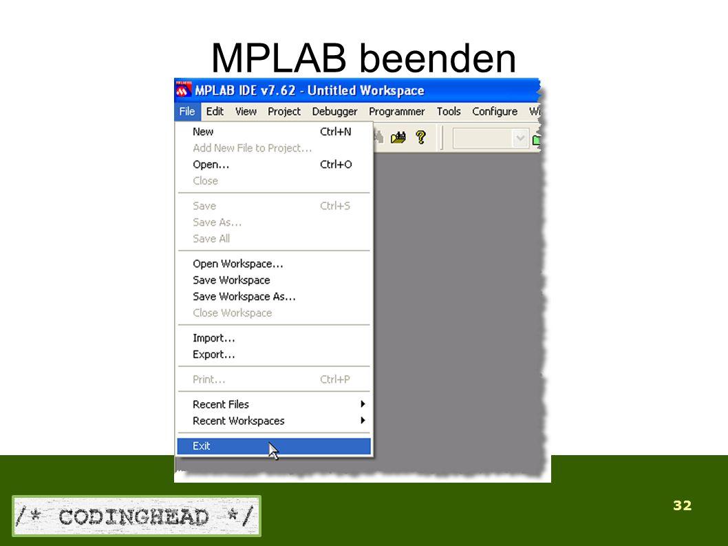 32 MPLAB beenden