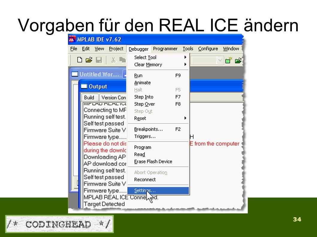 34 Vorgaben für den REAL ICE ändern